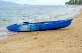 stock photo of kayak  - Blue kayak on a tropical beach Koh Samui Thailand - JPG