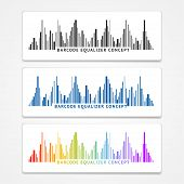 foto of barcode  - Vector illustration color barcode equalizer concept - JPG