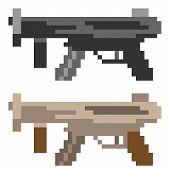 picture of sub-machine-gun  - illustration vector isolate icon pixel art sub machine gun - JPG