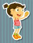 pic of potato chips  - Girl holding potato chip in hand jumping - JPG