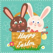 foto of bunny easter  - Happy Easter card with easter bunny and chocolate bunny in a basket and text on it - JPG