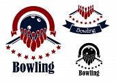 foto of bowling ball  - Bowling badges or emblems in blue and red colors with bowling lanes - JPG