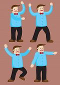 stock photo of stomp  - Body language and gestures of an unhappy cartoon man with bow tie - JPG