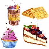 foto of chocolate muffin  - set of watercolor drawing desserts - JPG