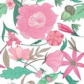 image of mint leaf  - Vector seamless background with pink romantic peony - JPG