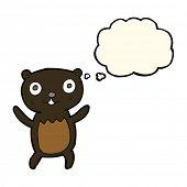 picture of bear cub  - cartoon black bear cub with thought bubble - JPG