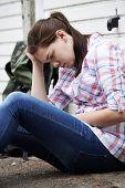 image of homeless  - Homeless Teenage Girl On Streets With Rucksack - JPG