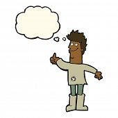 stock photo of positive thought  - cartoon positive thinking man in rags with thought bubble - JPG