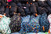 picture of nylons  - Stack of Coiled Nylon Rope for sale - JPG