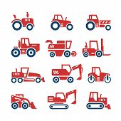 picture of truck farm  - Set color icons of tractors farm and buildings machines construction vehicles isolated on white - JPG
