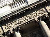 image of punishment  - Inscription above the entrance of the Central Criminal Court fondly known as The Old Bailey - JPG