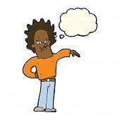 stock photo of nasty  - cartoon nasty boy with thought bubble - JPG