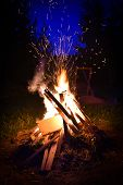 image of bonfire  - Big bonfire and sparks in the night - JPG