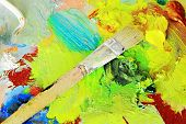 pic of paint palette  - Art brush to the palette for mixing of the oil paints - JPG