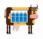 Постер, плакат: Spotted cow with milk Packages of milk the cow as in the refrigerator Milk production from cows N