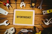 stock photo of enthusiastic  - The word diy enthusiast and tablet pc against blueprint - JPG