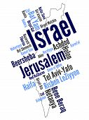foto of israel israeli jew jewish  - Map of Israel and text design with major cities - JPG