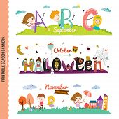 foto of october  - Set of Three Monthly Seasonally Vector Banners in a Cute and Character Style for Posters - JPG
