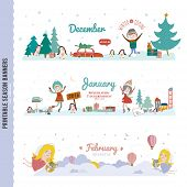 picture of seasonal  - Set of Three Monthly Seasonally Vector Banners in a Cute and Character Style for Posters - JPG