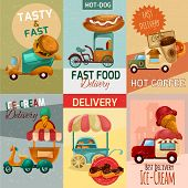 pic of ice-cream truck  - Fast food delivery trucks mini posters set isolated vector illustration - JPG