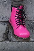 picture of skinhead  - Cute pink funky alternative girl or woman Military skinhead boot - JPG