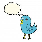 picture of bluebird  - cartoon bluebird with thought bubble - JPG