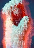 picture of orgasm  - Abstract lights art fashion portrait woman in meditations color background - JPG