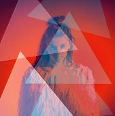 stock photo of mystique  - fashion portrait abstract color triangles on face - JPG