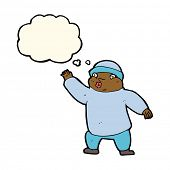 stock photo of crazy hat  - cartoon man in hat waving with thought bubble - JPG