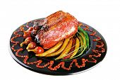 picture of chive  - roast red beef meat bbq bloc served on black plate  with green chives adn red hot pepper on black plate isolated over white background - JPG