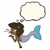 picture of mermaid  - cartoon mermaid blowing kiss with thought bubble - JPG