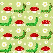 picture of caterpillar cartoon  - cute cartoon wormr colorful seamless vector pattern - JPG