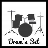 image of drum-set  - Isolated silhouette of a drum set - JPG