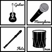 image of wind instrument  - Set of silhouettes of musical instruments - JPG