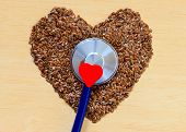 stock photo of flax seed  - Diet healthcare and checkup concept - JPG