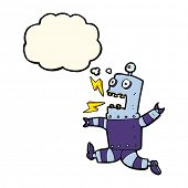 stock photo of terrifying  - cartoon terrified robot with thought bubble - JPG