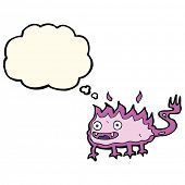 image of demon  - cartoon little fire demon with thought bubble - JPG