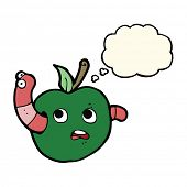 stock photo of worm  - cartoon worm in apple with thought bubble - JPG