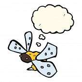 picture of bee cartoon  - cartoon bee with thought bubble - JPG