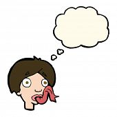 image of snake-head  - cartoon head sticking out tongue with thought bubble - JPG