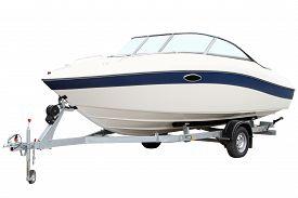 pic of boat  - Modern motor boat on the trailer for transportation - JPG