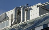 stock photo of air conditioning  - Air conditioning ducting on corporate office rooftop - JPG
