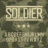 Soldier alphabet. Military design set. Army design elements. Military camouflage seamless pattern. C poster