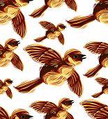 Birds migration seamless pattern.