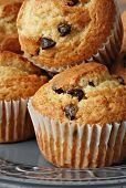 Chocolate chip muffins fresh from the oven.  Macro with shallow dof.