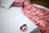 close-up photo of stud on white shirt with red tie