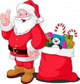 Ilustration for Christmas and New Year. Santa Claus. Bag with gifts. Vector