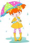 Girl wearing rain gear, carrying  umbrella. Vector