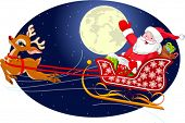 Cartoon illustration of Santa Claus flying his sleigh through the night sky.  Layered file for easie