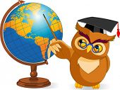 stock photo of world-globe  - Illustration of a cartoon wise owl with world globe - JPG